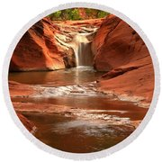 Waterfall At Red Cliffs Round Beach Towel