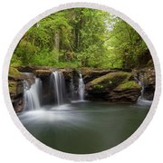 Waterfall At Rock Creek Oregon Round Beach Towel