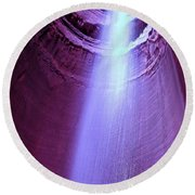 Waterfall At Ruby Falls Round Beach Towel