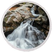 Waterfall At The Basin Round Beach Towel