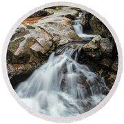 Waterfall At The Basin Round Beach Towel by Sharon Seaward
