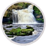Waterfall At West Burton, Yorkshire Dales Round Beach Towel
