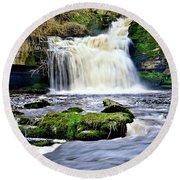 Waterfall At West Burton, Yorkshire Dales Round Beach Towel