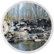 Round Beach Towel featuring the photograph Waterfall At Wickecheoke Creek by Bill Cannon