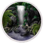 Waterfall Creek Round Beach Towel