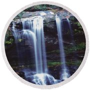 Round Beach Towel featuring the photograph Waterfall  by Debra Crank