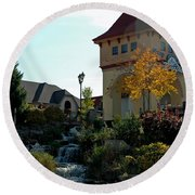 Round Beach Towel featuring the photograph Waterfall Frankenmuth Mich by LeeAnn McLaneGoetz McLaneGoetzStudioLLCcom