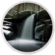 Waterfall From A Dream Round Beach Towel