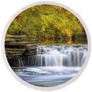 Round Beach Towel featuring the photograph Waterfall Glen, Lemont, Il by Adam Romanowicz