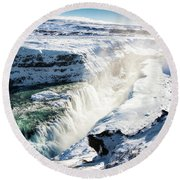 Round Beach Towel featuring the photograph Waterfall Gullfoss Iceland In Winter by Matthias Hauser