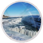 Round Beach Towel featuring the photograph Waterfall Gullfoss In Winter Iceland Europe by Matthias Hauser