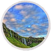 Round Beach Towel featuring the photograph Waterfall Hill by Scott Mahon