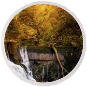 Round Beach Towel featuring the photograph Waterfall In An Autumn Canyon by IPics Photography