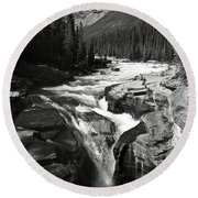 Waterfall In Banff National Park Bw Round Beach Towel by RicardMN Photography