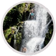 Waterfall In New Zealand Round Beach Towel