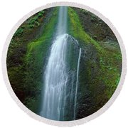 Waterfall In Olympic National Rainforest Round Beach Towel by Panoramic Images