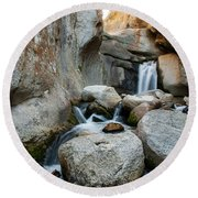 Waterfall In The Buttermilks Round Beach Towel