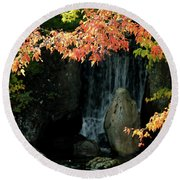 Waterfall In The Garden Round Beach Towel