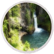 Waterfall In The Grotto Round Beach Towel