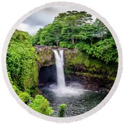 Waterfall Into The Valley Round Beach Towel