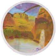 Rainbow Falls Round Beach Towel by Meryl Goudey