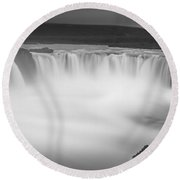 Waterfall Of The Gods Iceland Round Beach Towel