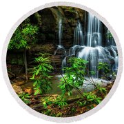 Round Beach Towel featuring the photograph Waterfall On Back Fork by Thomas R Fletcher