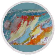 Waterfall On The Unknown Planet Round Beach Towel