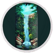Waterfall Sanctuary Round Beach Towel