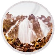 Waterfall Scenics  Round Beach Towel