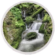 Round Beach Towel featuring the photograph Waterfalls And Rapids On The White Opava Stream by Michal Boubin