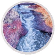 waterfalls at Colorado foothills aerial view Round Beach Towel