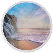 Waterfalls Into The Ocean Round Beach Towel