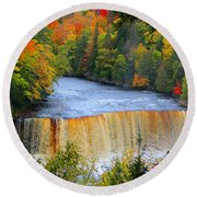 Waterfalls Of Michigan Round Beach Towel by Michael Rucker