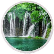 Waterfalls Panorama - Plitvice Lakes National Park Croatia Round Beach Towel