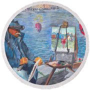Waterfront Artist Round Beach Towel by Quwatha Valentine