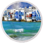 Waterfront At Mykonos Round Beach Towel