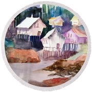 Waterfront Cabins Round Beach Towel