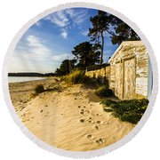 Waterfront Shed Round Beach Towel