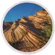 Waterhole Canyon Rock Formation Round Beach Towel