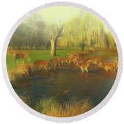 Watering Hole Round Beach Towel