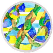 Watering The Lawn Abstract Round Beach Towel