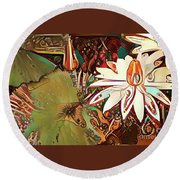 Waterlilies 11 Round Beach Towel