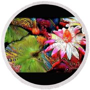 Waterlilies 15 Round Beach Towel