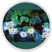 Waterlilies 17 Round Beach Towel