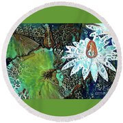Waterlilies 21 Round Beach Towel