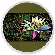Waterlilies 3 Round Beach Towel