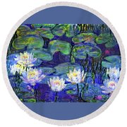 Waterlilies 4 Round Beach Towel