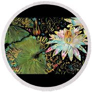 Waterlilies 5 Round Beach Towel