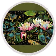 Waterlilies 7 Round Beach Towel